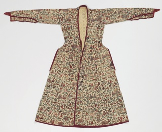 """Man's coat of  cotton, painted and mordant dyed. Patterns of many groups of small figures, arranged on little """"islands"""" of color, - hunters, woman with child, man on camel, one elephant, birds, trees, buildings with pointed towers. In colors of red, blue, yellow, green, brown. Figures are small, two inches or less. Repeat about 15"""" long. The style is long and flaring; deep opening collar to waist, fastened with two small buttons. Opening for hands at sides, 10"""" long. Sleeves long, pointed, fastened elbow to end with loops and buttons. Trimmed with red cotton; lined with cream-white cotton."""