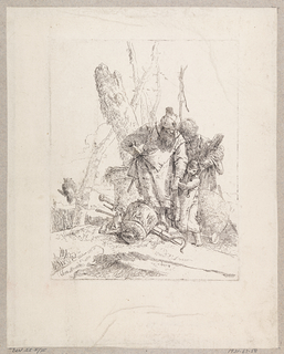 Two standing magicians; the one at left wears a turban, and with his left hand holds a child by the arm; the magician at right holds a quiver of arrows. In foreground, an urn, swords, and a snake. Dead trees and an owl in the background.