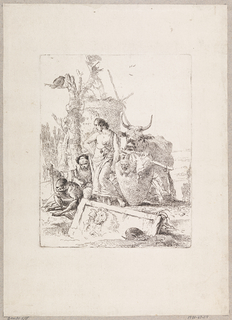 In the center, a young man with bare breast and arms stands next to a large urn with a satyr head. To the left, a crouching old man with a monkey on a leash. In the foreground, a sunken tomb with a relief. In the background, an ox.
