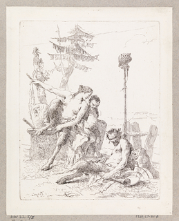 At right, a seated satyr, with a bugle and panpipes. Above, at right, an owl seated on the top of a pole. At left, a seated female satyr turns to a seated satyr child.