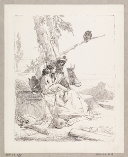A seated woman with a child, and a man in a flat cap. In the foreground, a quiver, plate, gourd, and staff. In the background, trees, an owl, and the ox.