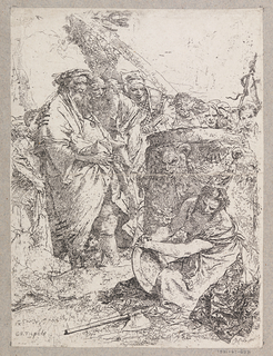 At lower right, a kneeling woman, holding a plate. In front of her on the ground, an axe. Behind her, a cylindrical altar decorated with a satyr head. At left and in the rear, several standing figures.
