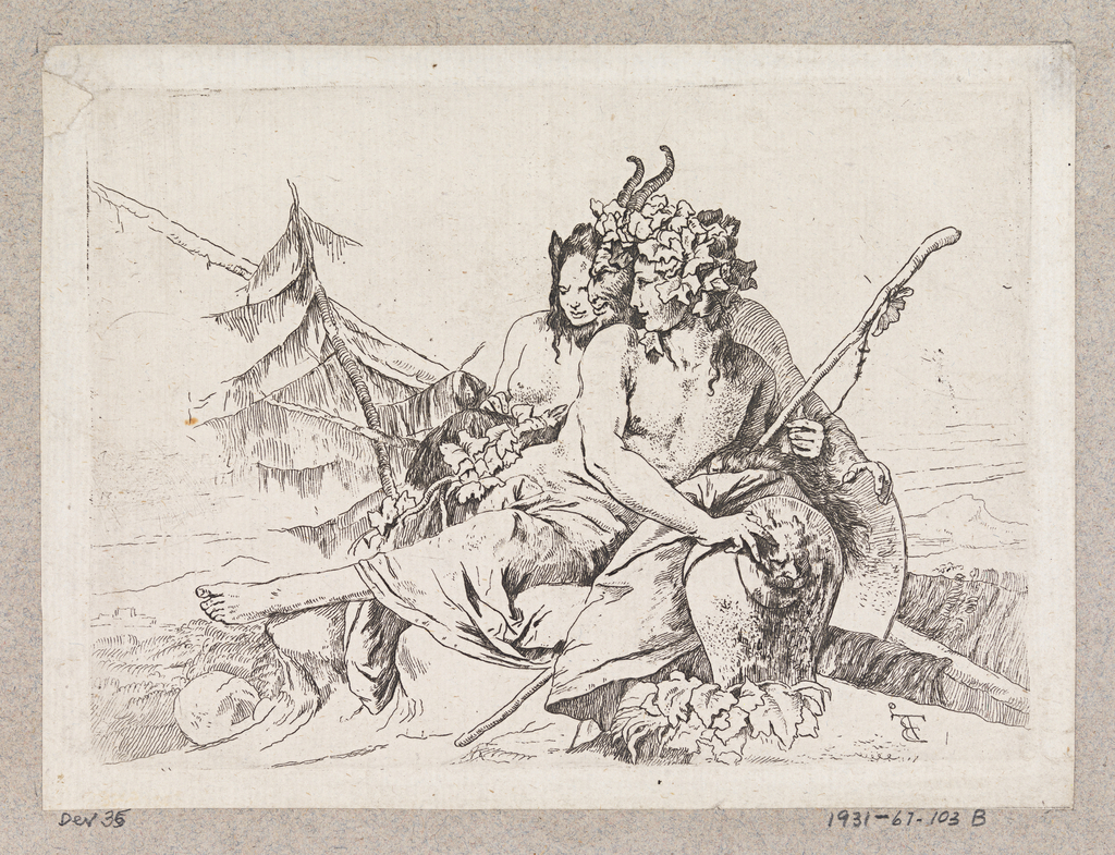 In the center, a compact group of a bacchante, a satyr and a female faun. They face left. The bacchante holds a thyrsus in her left hand and her right hand rests on a vase. In the background, trees.