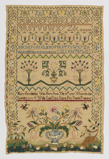 Sampler with a stylized floral border on three sides. In the upper third are three sets of alphabets and a set of numerals, separated by geometric and floral borders. In the center, three stylized flowers and an inscription:  Mary Batchelder Was Born June The 13th 1757 Wrought this Sampler 1773  While God does Spare for Death Prepare  A large two-handled vase of flowers is centered in the lower third, with a bird and an insect on each side and flowers scattered in the foreground.
