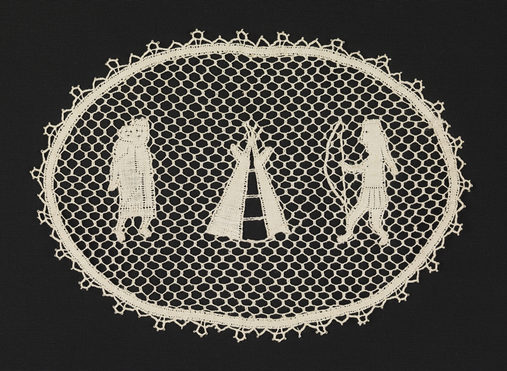 Oval mat with a squaw and papoose, tepee, and brave with bow on a mesh ground with a picot border.