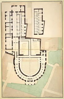 Ground plan of the theatre: horse-shoe shaped space and entry at bottom; exterior spaces (canal?) indicated in green.