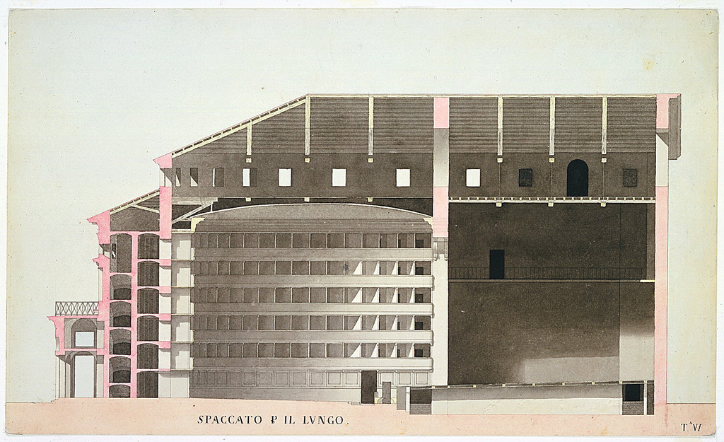 Longitudinal cross-section of a theater (in shades of rose and gray), showing an auditorium composed of five tiers of boxes (34 boxes on each tier) and the stage. Arched entryway at left.