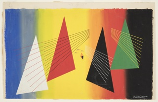 "Design for the backdrop used during the main act of ""Checkmate"". Background composed of vertical stripes of blue, green, yellow, orange, red and black. At center, 4 large triangles in white, red, black, and green white, red, and green superimposed with three groupings of perspectival, converging lines. At center, an orange diamond and three small, gray cloud forms."