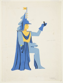 """Costume design for the character Love in """"Checkmate"""". Seated figure in right profile, wearing a blue robe, blue cloak, blue helmet with yellow pennant, and blue gloves. The figure holds a black rook in its left, gloved hand. Color notations."""