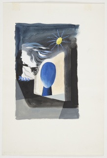 Study for an illustration for a 1946 edition of The Complete Poems and Stories of Edgar Allan Poe, published by Knopf in New York. At center, an abstracted egg-shaped, featureless head and neck in blue, surrounded by a parallelogram-shaped sunburst. Above and at right, a yellow sun with blue rays emanating from the central sphere.  To the left, the profile of a face, turned to the left, with flowing hair. Below the face in profile, a white triangular-shaped rock and four blue waves. The background is rendered in grays.