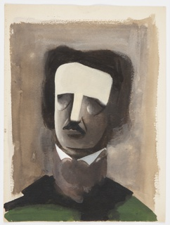 Study for an illustration for a 1946 edition of The Complete Poems and Stories of Edgar Allan Poe, published by Knopf in New York. Centered on page, a bust portrait of Edgar Allan Poe with no eyes, or eyes closed, wearing high collar and green shirt against a gray ground.
