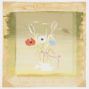 Design for a magazine cover of an issue of the magazine, Brighton Warp and Weft. Bouquet of wild flowers with stalks of wheat tied with a ribbon in red, white, and blue. Below, a white dove.
