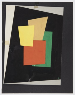 Four geometric irregular rectangular shapes in red, green, yellow, and tan layered on black ground.