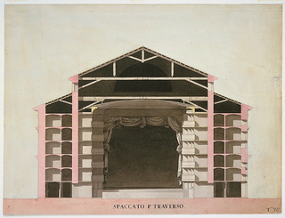 Drawing in shades of rose and gray of transverse section of a theater showing a large central section with a pitched roof flanked by bays with lower roof.   View of five tiers of boxes topped by a shallow dome, the proscenium with curtain, and a large dark semicircular shape seen through the roofing timbers.  The rose pink indicates structural supports.