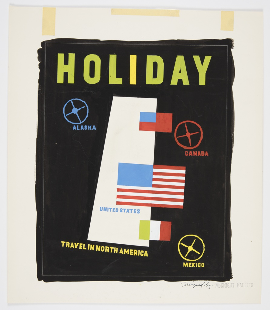 On white paper, black vertical rectangle with uneven edges. Within, a white trapezoid at center, abstracted simplified flags of the United States and Mexico. At upper left, upper right, and lower right, ship wheels in blue, red, and yellow.