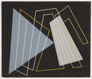 Geometric designs—triangles, trapezoids, and linear outlines—in light blue, gray, yellow and white on a black ground.