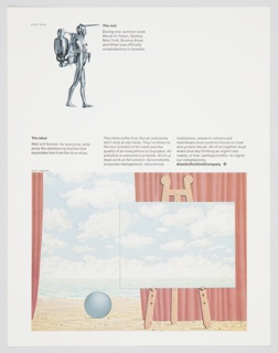 Atlantic Richfield Company advertisement proof about clean air featuring an illustration of a figure in full body suit with oxygen tank at upper left by Ernest Tino Trova and a reproduction of a surrealist painting by René Magritte of a seascape, in which the cloudy sky of the canvas mirrors the cloudy sky of the background. Includes black printed text about the real (upper center, to the right of image) and the ideal (center left, above lower image). Text about pollution is at center right. The Atlantic Richfield Company logo, a small black diamond divided into 4 parts and containing a blank center, next to the company name in black, is at center right.