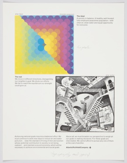 Atlantic Richfield Company advertisement proof addressing America's national goals. At upper left, reproduction of Herbert Bayer's painting Chromatic Amassment (1971), featuring multicolored circles in gradient. At lower right, reproduction of a surrealist work by M.C. Escher depicting staircases. Includes black printed text about the ideal (upper right) and the real (lower left) and achieving national goals (along the bottom). The Atlantic Richfield Company logo, a small black diamond divided into 4 parts and containing a blank center, next to the company name in black, is at bottom right.