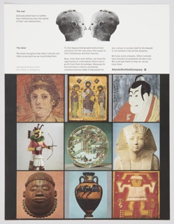 Atlantic Richfield Company advertisement proof addressing cross-cultural communication. Contains nine color reproductions of artworks representing a range of cultures, occupying the center and lower portion of the design. Includes black printed text about the real (upper left) and the ideal (directly below). Additional text about cross-cultural communication is at upper center and upper right, below a black and white photographic reproduction of two sculpted heads facing each other. The Atlantic Richfield Company logo, a small black diamond divided into 4 parts and containing a blank center, next to the company name in black, is at upper right, above the color artworks.