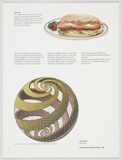 Atlantic Richfield Company advertisement proof addressing world hunger. Includes a photographic reproduction of a sandwich on a plate at upper right. At lower left, a reproduction of a work by M.C. Escher with spiraling spherical form. Includes black printed text about the real (upper left) and the ideal (lower right). Additional text about world hunger printed in black in the center. The Atlantic Richfield Company logo, a small black diamond divided into 4 parts and containing a blank center, next to the company name in black, is at bottom right.
