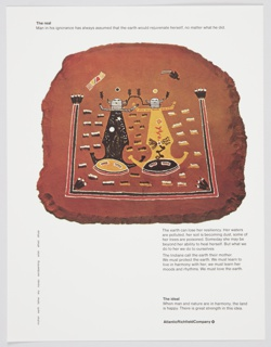 Atlantic Richfield Company advertisement proof addressing natural resources. Contains an illustration of a Navajo sandpainting by Alfred Dihyia. Includes black printed text about the real (along the top) and the ideal (lower right), along with additional text about the need to protect the earth and live in harmony with her (lower right, just below image). The Atlantic Richfield Company logo, a small black diamond divided into 4 parts and containing a blank center, next to the company name in black, is at bottom right.