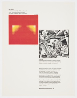 Atlantic Richfield Company advertisement proof addressing America's national goals. At upper left, a reproduction of a painting by Herbert Bayer of yellow squares in gradient on a red background. At center right, a reproduction of a surrealist work by M.C. Escher depicting staircases. Includes black printed text about the ideal (upper left, above image), the real (lower right, below image), and achieving national goals (lower right). The Atlantic Richfield Company logo, a small black diamond divided into 4 parts and containing a blank center, next to the company name in black, is at bottom right.
