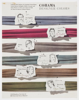Advertisement proof for Cohama Fabrics featuring designer fabric swatches or samples in horizontal rows. White labels resembling torn paper with pictures of the designers and the color names are positioned on top of each sample. They are as follows, from top to bottom: Star Sapphire by Adrian, Ruby Glass by Jo Copeland, Platina by Omar Kiam, Glacier Blue by Louise Barnes Gallagher, Winter Blonde by Hattie Carnegie, and Moss Green by Clare Potter. Printed in black text, upper left: Cohama asked Adrian, Jo Copeland, Omar Kiam, / Louise Barnes Gallagher, Hattie Carnegie and / Clare Potter to select your colors for Fall. / See them in famous Cohama Fabrics; in black, upper right: COHAMA; in grey, directly below: DESIGNER COLORS. Printed in black, lower left: 1412 Broadway, New York 18 / 800 University Tower, Montreal.