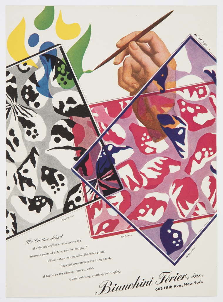 Advertisement for Bianchini-Férier featuring screens (black, red, and purple) with abstract pattern designs for fabric. An illustration of a human hand holding a paintbrush is at upper right; the hand is painting a pattern directly to the left composed of green, yellow, and blue geometric forms. Printed in black, underneath each screen: Black Screen; Red Screen; Purple Screen. Printed in black, diagonally, lower left: The Creative Hand [in cursive italics] / of visionary craftsmen who weave the / prismatic colors of nature, and the designs of / brilliant artists into beautiful distinctive prints. / Bianchini immortalizes the living beauty / of fabric by the Fiberset  process which / checks shrinking, stretching and sagging. Printed in larger black cursive italic text, bottom right: Bianchini-Férier, inc.; directly below, in black sans serif font: 663 Fifth Ave., New York. Verso: advertisement for Castlecliff gold jewelry against a green background.