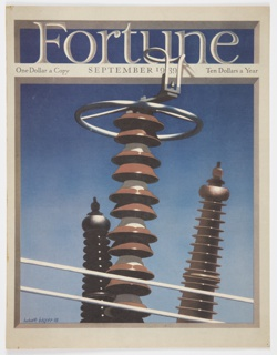 Cover design for September 1939 Fortune magazine, Vol. 20, No. 3. Features three forms resembling chess pieces in black, red, and brown against a blue background. The center form has what appears to be a steering wheel at the top. Printed in large white text, shaded in grey, against a blue background, across the top: Fortune; printed in black, directly below: One Dollar a Copy  Fortune September 1939  Ten Dollars a Year. Verso: Dow Chemical Company illustrated color advertisement about products to protect canvas goods from bacteria.