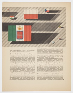 Printed page from Fortune magazine featuring a diagram by Herbert Bayer at top showing flags from different countries, including Italy (much larger than the others, at lower left), Rumania, Hungary, Poland, Czechoslavakia, Lithuania, Netherlands, and Greece. The size of each flag is proportional to the number of immigrants from those countries to America. Shadows appear to the right of the flags, indicating the number of American born children of immigrants. Printed black text appears below. Verso: Black and white photographic illustration of people seated at Lidice, Illinois dedication ceremony.