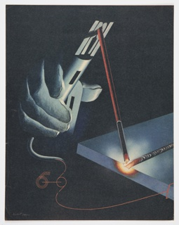 "Page 148 from Fortune magazine showing the welding process. Features a close-up color illustration (in grey, black, blue, and red) of a glove-covered hand using a tool against a black background. Part of same feature/article as 2016-54-352. Verso: Black printed text and black and white illustration of multiple figures together at bottom. The page includes the section heading, ""THE NADIR OF SPANISH POWER."""