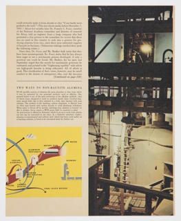 "Page 139 from Fortune magazine featuring the continuation of a diagram by Herbert Bayer of making aluminum from clay using the ancor method at lower left. Continues from 2016-54-350. Page also includes a photographic illustration on the right side of a factory interior. Black printed text appears on the left above the diagram. Text includes the section heading, ""TWO WAYS TO NON-BAUXITE ALUMINA."" Verso: Black and white illustration by Julian Levi showing men in robes looking at model planes, with model planes hanging above."