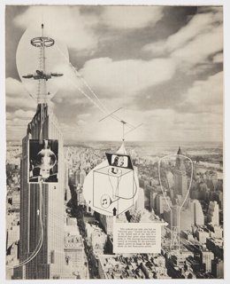 Page 57 from Fortune magazine featuring a black and white photomontage diagram by Herbert Bayer. Shows the process of a TV program from studio to living room. Continuation of page 56 (2016-54-363). A cloud-covered sky covers the upper portion of the design. Verso:  Printed black text and black and white photographic images along the top of people associated with television.