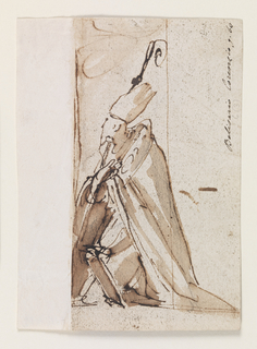 Bishop kneeling, in cloak and tall hat, leaning on staff, face turned away from the viewer.