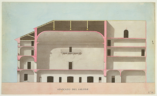 Longitudinal cross-section of the theater in shades of pink (showing structural supports), gray and yellow (roof). Large main chamber has ceiling with rounded, coved corners and a central balcony above a doorway. Right third of section shows six rooms, the top one with an arched door.