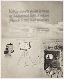 Page 56 from Fortune magazine featuring a diagram by Bayer at bottom and printed black text at top against a sky filled with clouds. Black and white diagram incoporating photographic images shows the process of a TV program from studio to living room. Continues on page 57 (2016-54-361). Verso: Photographic images related to television and black printed text.