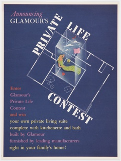"""Print advertisement for Glamour's Private Life Contest featuring a center image and surrounding text against a navy blue background surrounded by a white border. """"Announcing"""" is printed in pink italic text directly above """"GLAMOUR'S"""" in white text in the upper left corner. The words """"PRIVATE,"""" """"LIFE,"""" and """"CONTEST"""" appear in bold white text around a center image of a woman with blonde hair and a green dress inside a clear box. White clouds, an open pink book, blue and red music notes, a yellow flower, and a red heart surround her inside the box. The box emerges from floor plan outlined in white. Below and to the left of the center image and text, the following text is printed (alternating in red, pink, and yellow): Enter / Glamour's / Private Life / Contest / and win / your own private living suite / complete with kitchenette and bath / built by Glamour / furnished by leading manufacturers / right in your family's home!"""