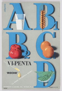 Printed card includes A, B1, B2, C, and D in blue block letters and numbers along with foods that represent the source of each vitamin (milk, wheat, tomatoes, oranges, and fish) against a grey background. A dropper with a golden liquid vitamin appears at the lower left. Printed in black, lower left: VI-PENTA / 'ROCHE'; in white, diagonally, lower left: LA DOSIS VITAMÍNICA DIARIA; below: HOFFMAN-LA ROCHE, INC., NUTLEY, N.J.