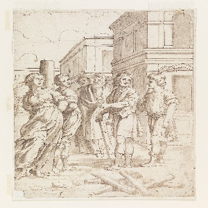 Vertical rectangle. Figures of a man and woman tied to a stake together, awaiting execution. A crowd of men passing by has gathered to leer and point. Firewood lies in the foreground; buildings of the city piazza are in the background.