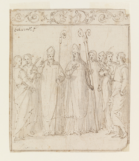 Scene of The Annunciation: Augustine, Ambrose and other Saints standing within ornamental border.
