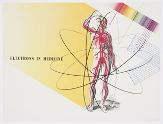 """Printed page from General Electric Company's 1942 booklet on electronics, """"Electronics—A New Science for a New World,"""" featuring a chicken, corn, and hands holding potatoes in the foreground against a farmland background. Verso: Design featuring an illustrated male human body highlighting the circulatory system inside an atomic design. Also includes overlaid lines with arrows and bands of color at right, as well as text printed in black against yellow, center left: ELECTRONS IN MEDICINE."""