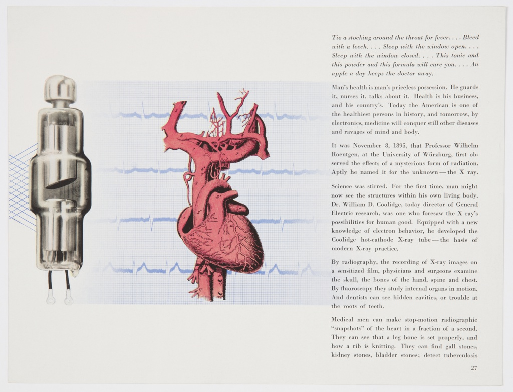 """Page 27 from General Electric Company's 1942 print booklet on electronics, """"Electronics—A New Science for a New World,"""" featuring a silver scientific instrument on the left, a red human heart in the center, and black printed text on the right. Verso: Design featuring photographic reproductions of X-rays and the inductothermy process, as well as a caption printed in black at upper right."""