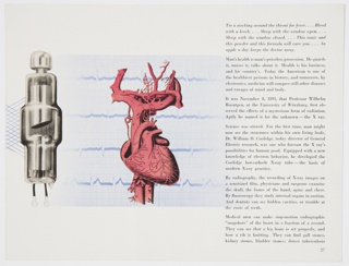 "Page 27 from General Electric Company's 1942 print booklet on electronics, ""Electronics—A New Science for a New World,"" featuring a silver scientific instrument on the left, a red human heart in the center, and black printed text on the right. Verso: Design featuring photographic reproductions of X-rays and the inductothermy process, as well as a caption printed in black at upper right."