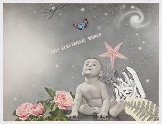 "Printed page from General Electric Company's 1942 booklet on electronics, ""Electronics—A New Science for a New World,"" featuring a black and white photographic reproduction of a baby surrounded by pink roses, a pink starfish, white crystals, and an illustration of a leaf. The baby watches a blue and red butterfly above, with a grey cosmic outer space scene in the background featuring stars, an atomic symbol, and what appears to be a spiral nebula at upper right. Printed in white, diagonally, center: THIS ELECTRONIC WORLD. Verso: Page 11 of the booklet. Design features black and white photographic reproductions of electronic tube manufacture and electronic controls with captions printed in black. The photographs appear against a white roughly triangular form surrounded by a light brown background."