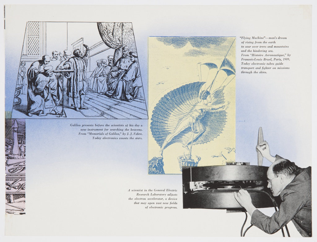 """Printed page from General Electric Company's 1942 booklet on electronics, """"Electronics—A New Science for a New World,"""" featuring a black and white photographic reproduction of a General Electric research scientist at lower right, reproductions of scientific illustrations by Galileo and Francois-Louis Bruel at upper left and upper right, and image captions printed in black. The background is white and light blue, with the blue area gradually fading into white. Verso: Page 6 of the booklet. Design features black printed text at left and illustrations of 17th- and 18th-century science experiments by Otto von Guericke and Luigi Galvani at right. Captions printed in black accompany the images, and the text, """"FIRST COMES,"""" is printed in black at center right."""