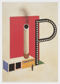 """Bauhaus Archive postcard featuring a photographic reproduction of Bayer's 1924 design for a sales and advertising kiosk for the cigarette brand P. Projekt. Design consists of a large black block letter """"P"""" with white dots, most likely lights, on the inside. It stands to the right of a horizontal rectangular structure with """"CIGARETTEN"""" written on the front in purple against a yellow background. A large cigarette with smoke emerging from the top stands of the structure, stretching upwards in front of a tall red vertical rectangle backdrop. A small photographic reproduction of a man in a hat with a cane stands in front of the kiosk design."""