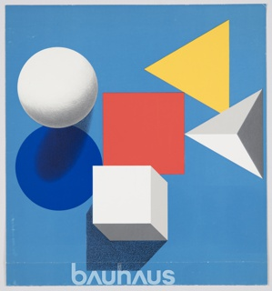 "Cover design for the 1968 catalogue for the Bauhaus ""50 Jahre"" exhibition in Stuttgart organized by Württembergischer Kunstverein. One sheet folded in two in booklet format. Consists of a blue circle, red square, yellow triangle, white sphere, white cube, and white pyramid on a blue background. Universal typeface by Herbert Bayer is featured at bottom; printed in white, bottom center: bAuhAus. Verso/back cover is solid blue. White interior pages."