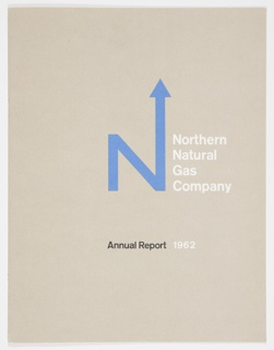 """Light brown booklet covers (front and back) for Northern Natural Gas Annual Report. The logo (""""N"""" with arrow extending from upper right part of letter) is in blue at center and """"Northern Natural Gas Company"""" is printed in white at center right. At lower center, the text """"Annual Report"""" appears in black, with """"1962"""" printed to the right in white. Solid light brown back cover and white interior."""