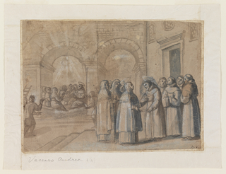 In a great hall, Clara, surrounded by nuns, meets with St. Francis, surrounder by monks.