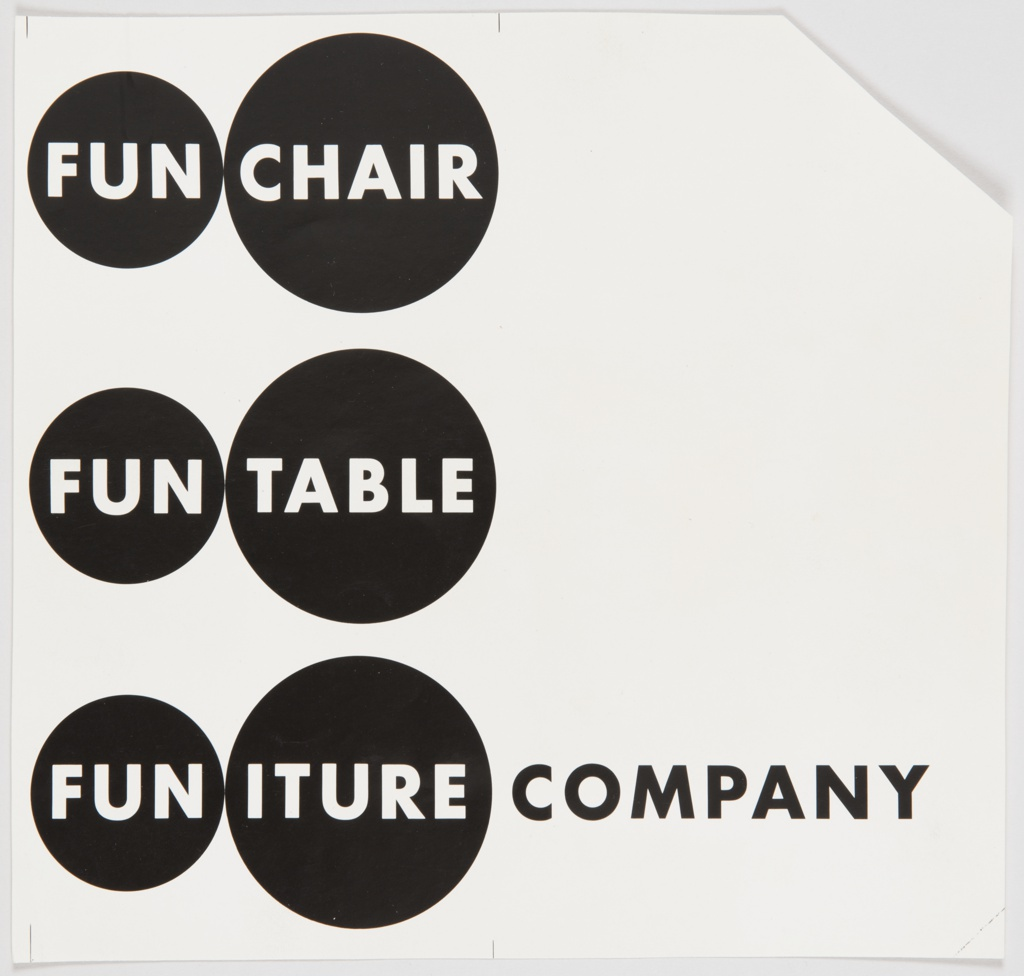 """White text appears inside three rows with two black circles each. Top row: FUN CHAIR; middle row: FUN TABLE; bottom row: FUN ITURE. In each row, """"FUN"""" appears in a smaller circle, with the second word appearing in a slightly larger circle. On the bottom row, """"COMPANY"""" is printed in black text after the circles containing """"FUN """" and """"ITURE."""""""